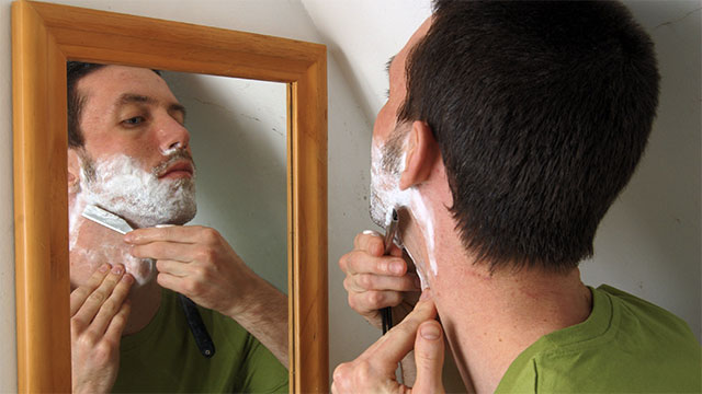 """Whenever I go to shave, I assume there's someone else on the planet shaving, so I say """"I'm gonna go shave, too."""""""