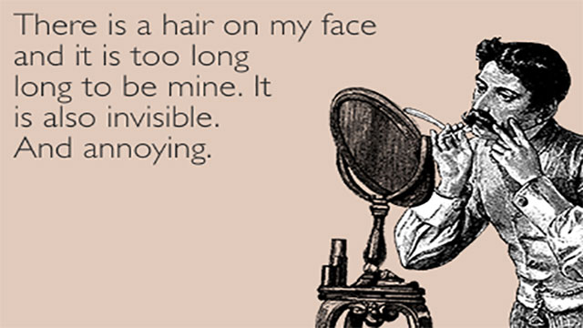 Invisible hairs on your face meme