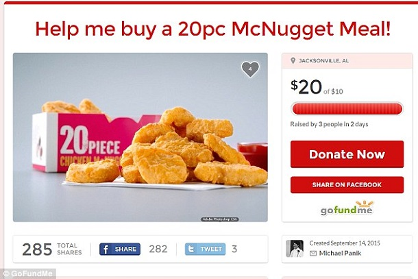 chicken mcnuggets meal gofundme