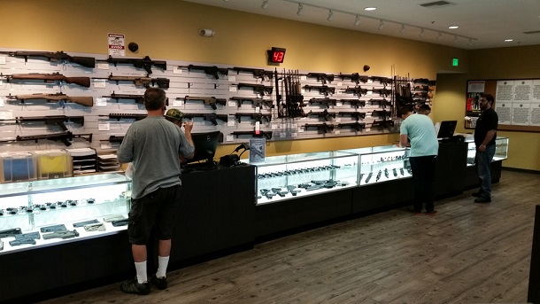 rifle wall in pawn shop