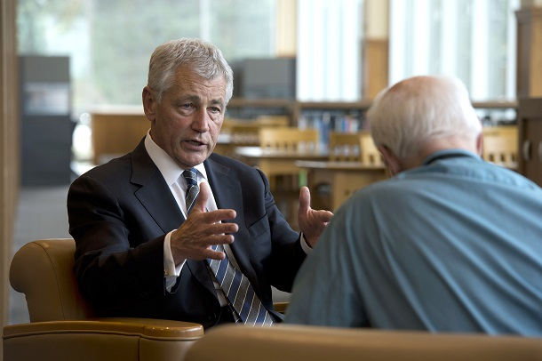 Secretary_of_Defense_Chuck_Hagel_answers_a_question_during_an_interview_with_Lincoln_Star_Journal_reporter_Don_Walton_at_the_University_of_Nebraska_Omaha_Neb._on_June_19_2013