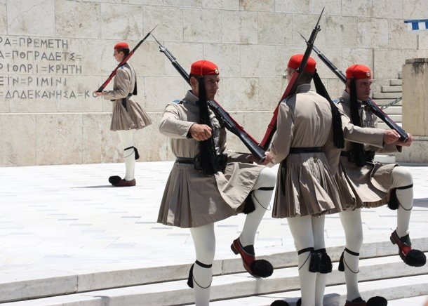 guard mounting in Athens, Greece
