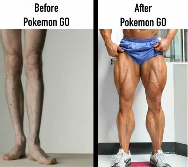 Legs before and after pokemon Go