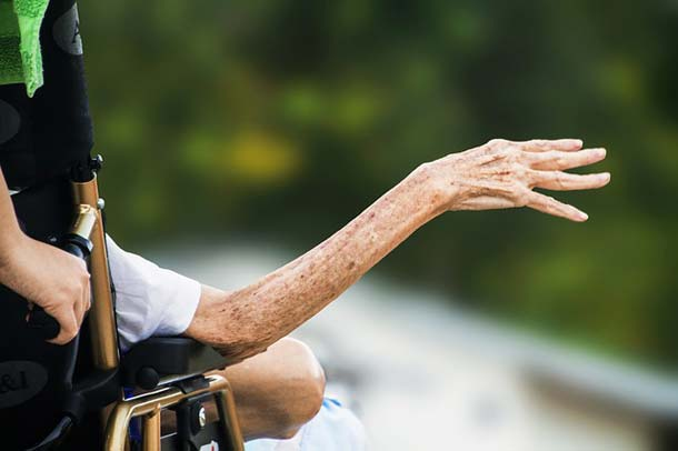 old woman in wheelchair