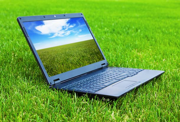Laptop on grass with grass screen saver