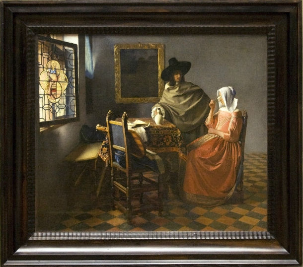 The_Wine_Glass_painting_by_Vermeer_with_frame