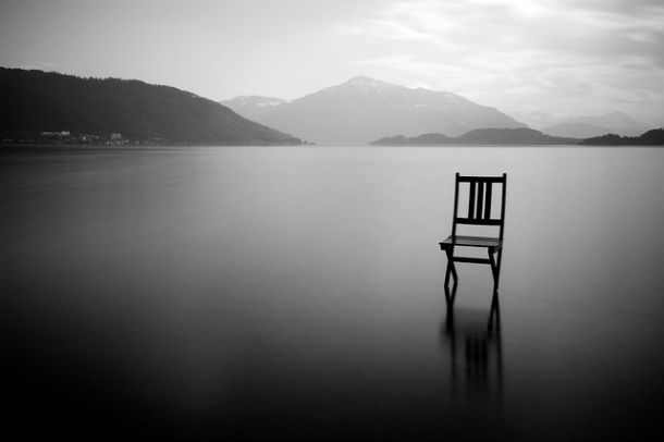 empty chair water silence
