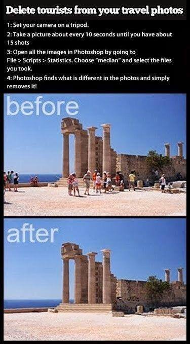 remove tourists from travel shots