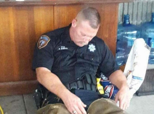exhausted cop
