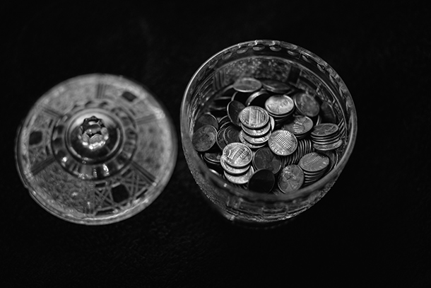 coin in glass
