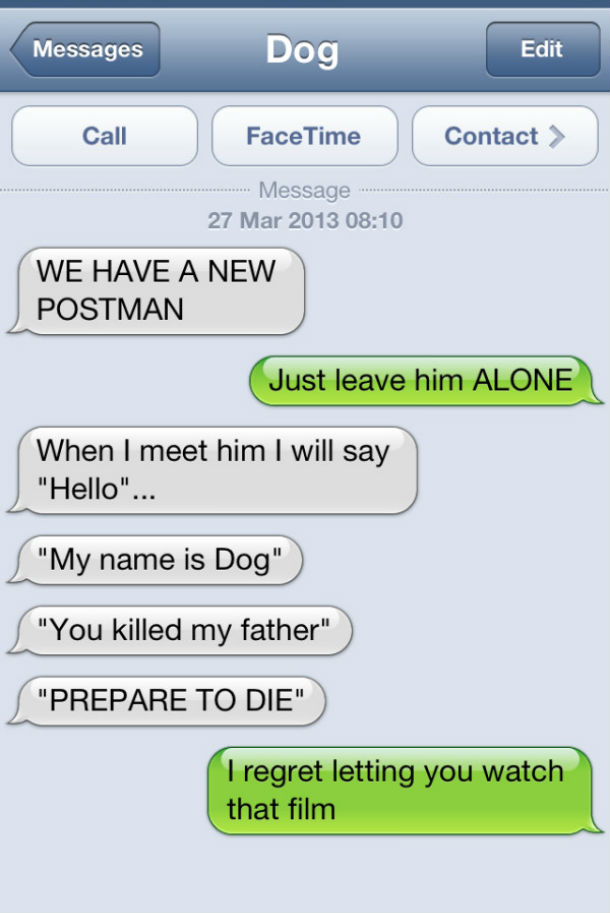 dog text you killed my father