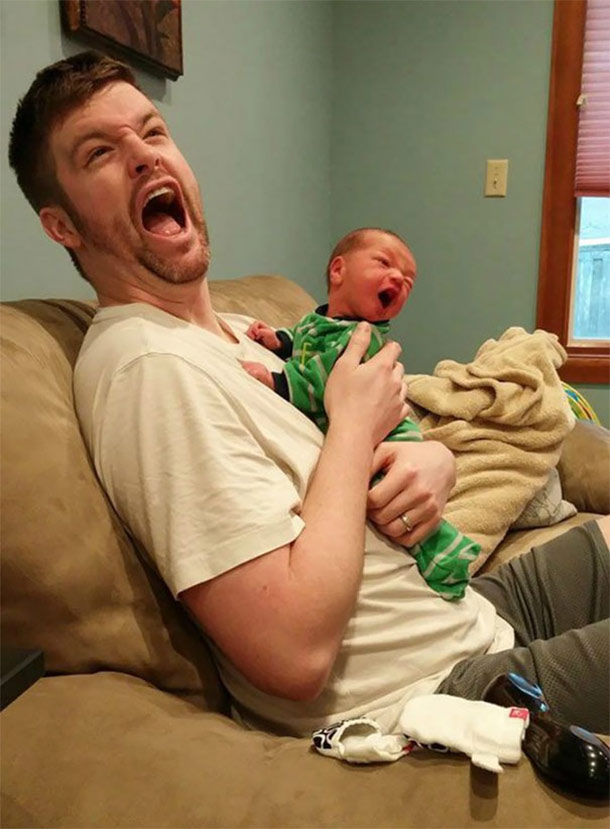laughing with dad