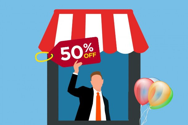 vector image man holding discount sign in store front