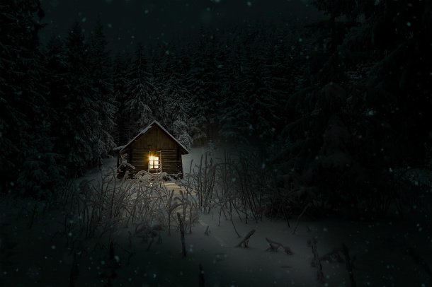 camping winter cabin