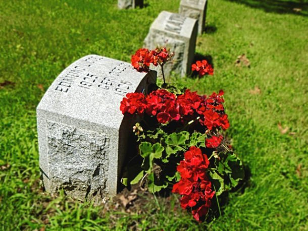 gravesite with flowers