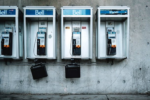 wall of payphones